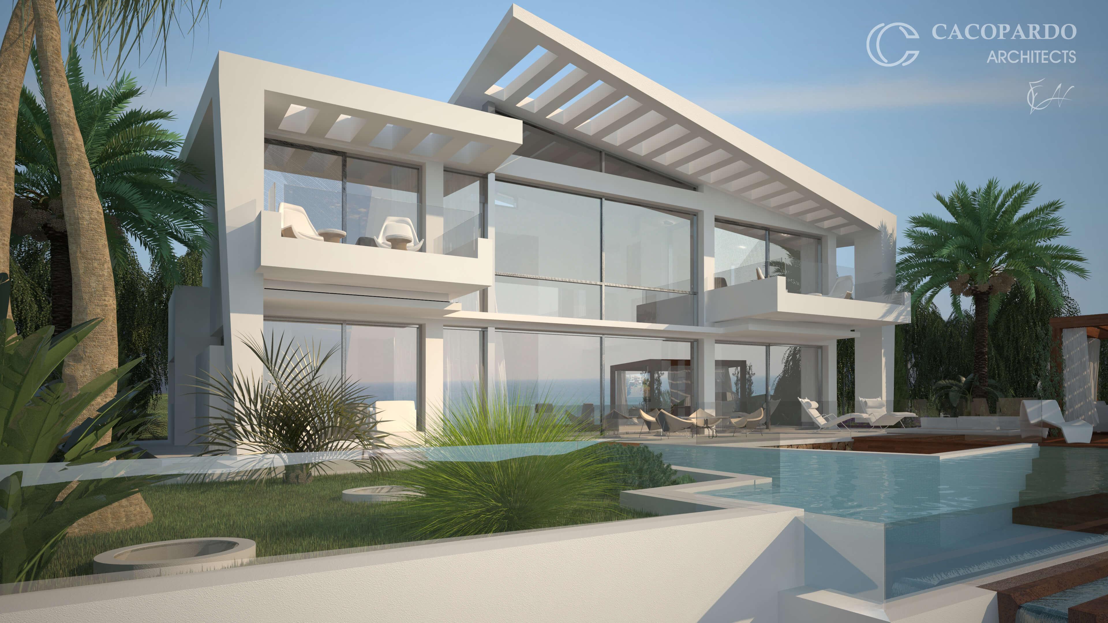 Vista del área jardín y piscina, Infinitum House, Costa del Sol