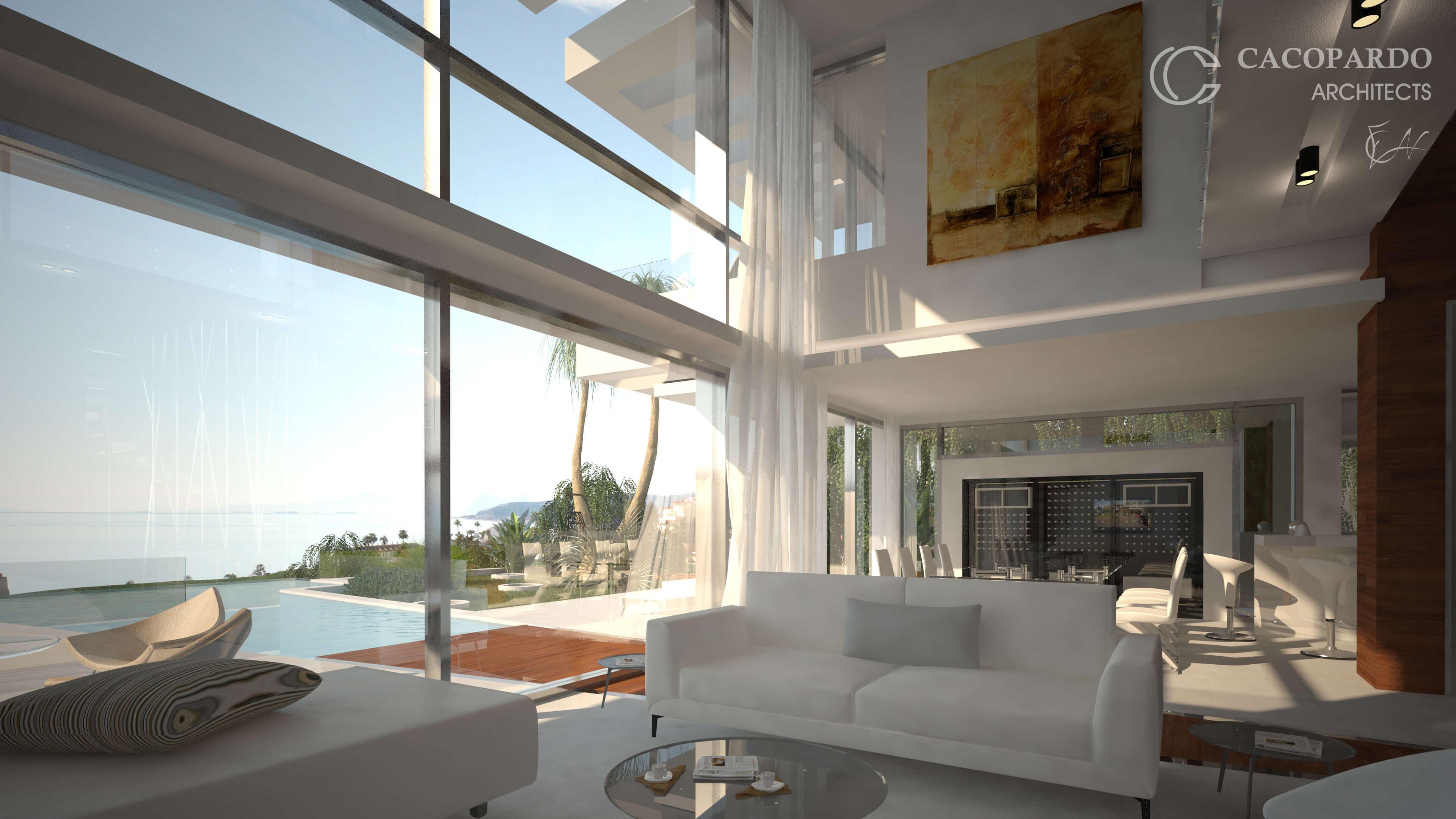 Salon y porche-Infinitum House- Costa del Sol