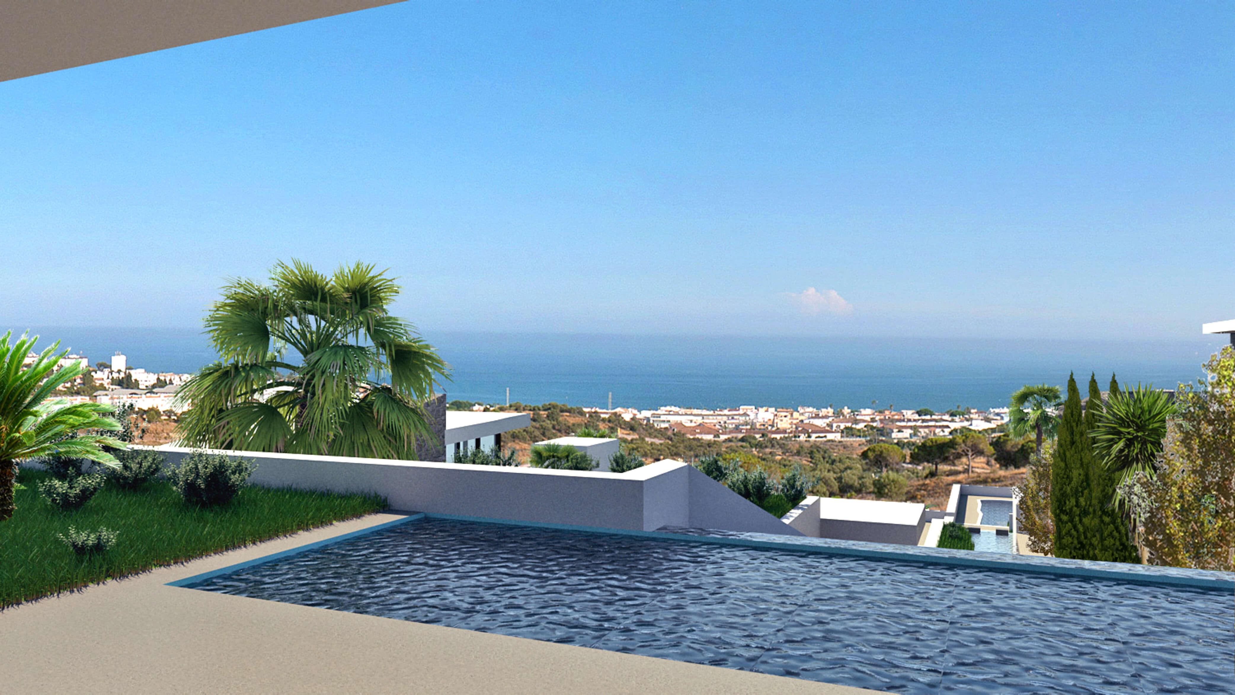 Vista desde la piscina de la Villa 3, La Cala de Mijas, Costa del Sol, Málaga