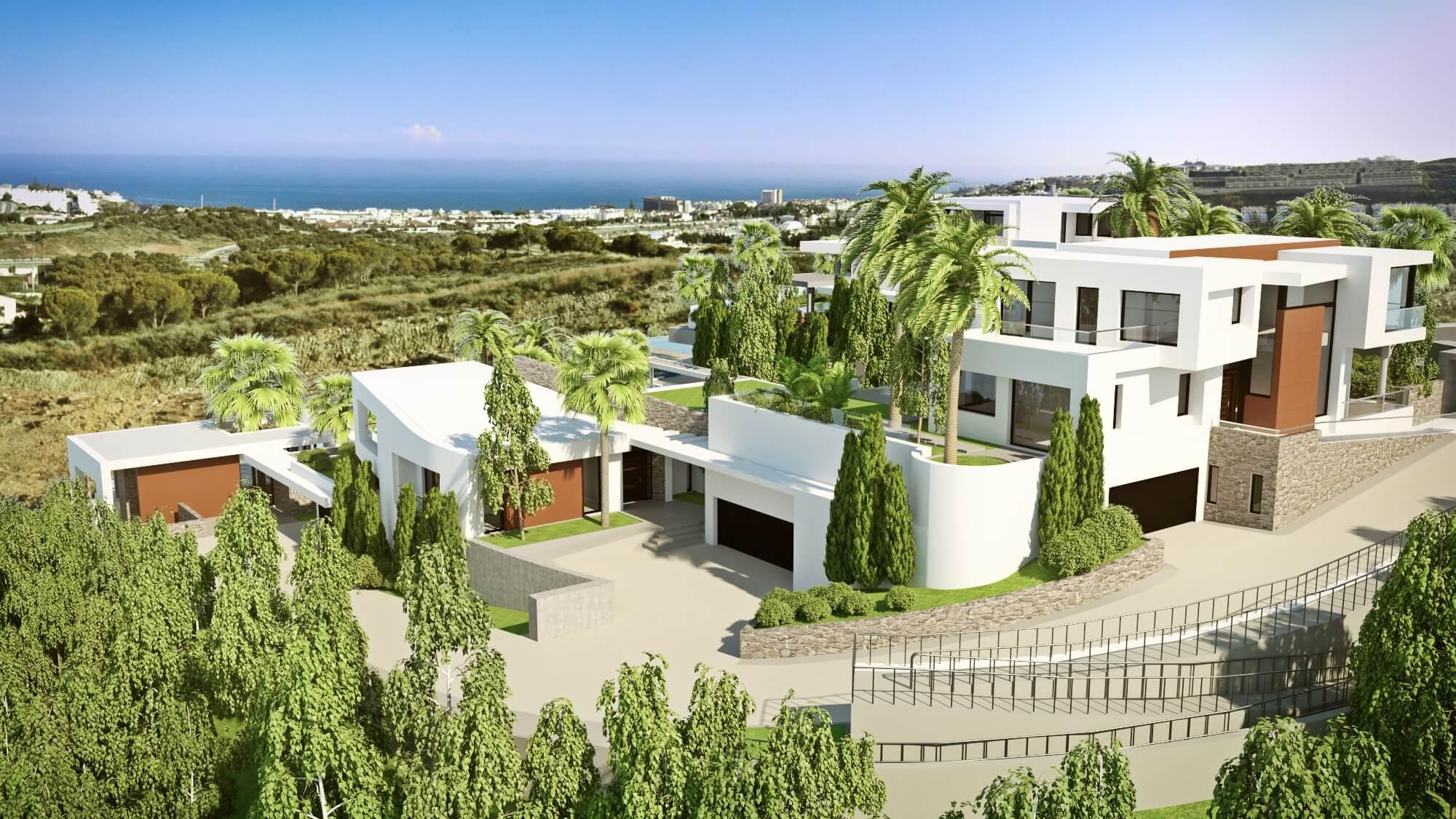 Vista general de la Urbanización, Entrada Villas 1-2-3, La Cala de Mijas, Costa del Sol, Málaga
