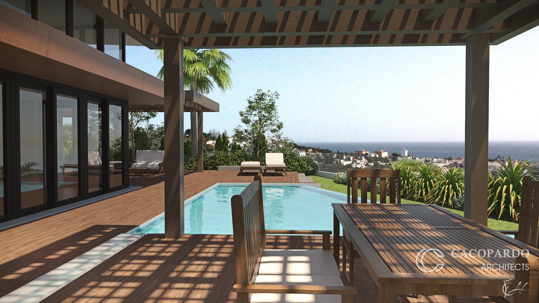Vista desde la piscina de la Villa 4, La Cala de Mijas, Costa del Sol, Málaga